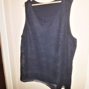 Tops - Navy Lace Front Sleeveless Blouse 2X